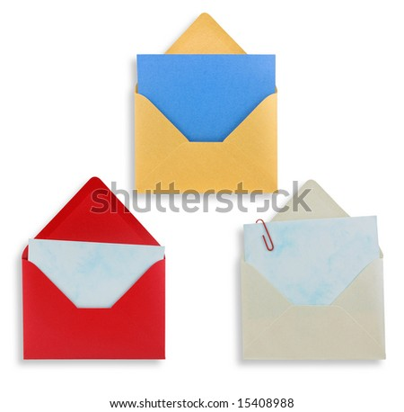 Assorted open envelopes isolated on white background, path provided.