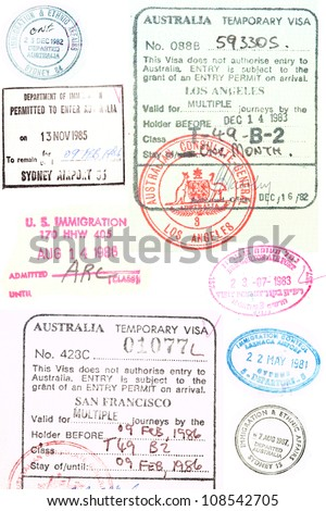 Assorted passport stamps and visa's from Sydney Australia, Larnaca Cyprus, visa s issued in Los Angeles and San Francisco, - stock photo