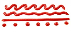 Assorted patterns of tomato ketchup drizzles on white with dots, straight line, wavy lines and zigzag