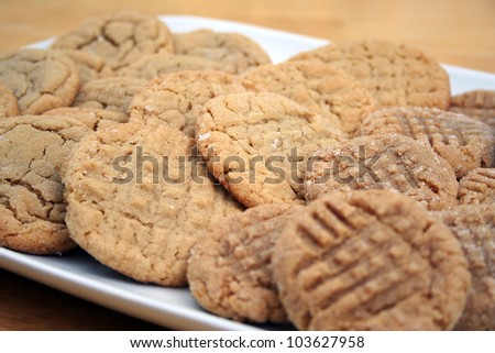Assorted Peanut Butter and Sugar Cookies Background