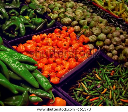 Assorted peppers in supermarket display