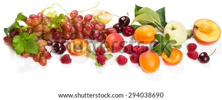Assorted raw organic berries and fruits  grape, apricot, peach, apple, raspberry and cherry with leaves isolated on white background  #294038690