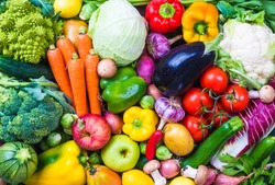 Assorted raw vegetables and fruits background.Healthy clean eating, dieting concept.
