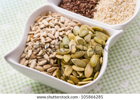 Assorted seeds pumpkin, sunflower, sesame, flax