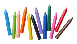 Assorted set of bright multicolor crayons, isolated on white background