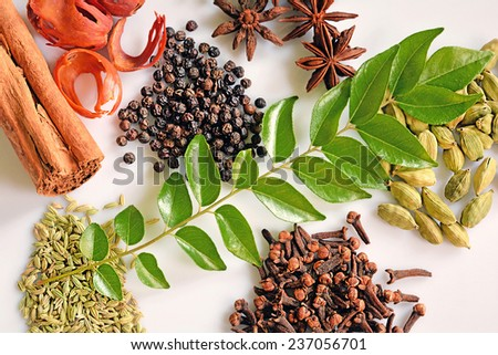 Assorted Spices of Kerala. Cinnamon, pepper, clove, star anise, cumin, cardamom, nutmeg and curry leaves form integral ingredients of Malayalee cuisine. They add to the appetizing flavor of curries.