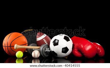 Assorted sports equipment included a basketball, american football, soccer ball, baseball, tennis ball, boxing gloves, tennis racket, baseball bat and dumbbells