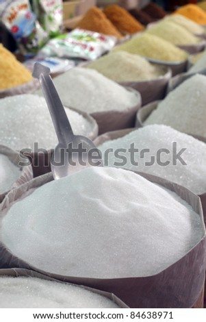 Assorted sugars on a market stall