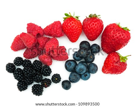 Assorted summer berries - strawberries, blueberries, blackberries