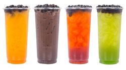 Assorted Tea Drinks on crushed ice with fruit pearls isolated on white background