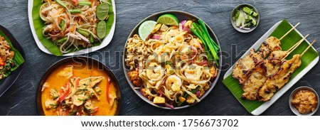assorted thai food with shrimp pad thai and panang curry Stockfoto ©