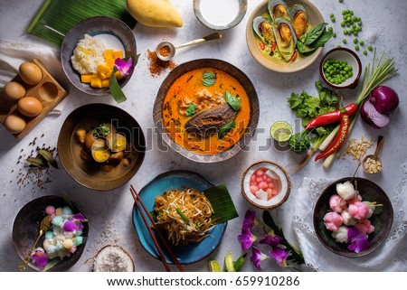 Assorted Thai traditional dishes  #659910286