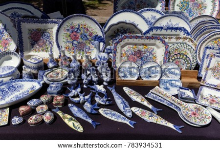 Assorted traditional Portugese souvenirs on sale in Porto, Portugal #783934531