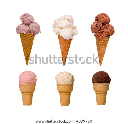 Assorted types of ice cream cones. A summer time treat