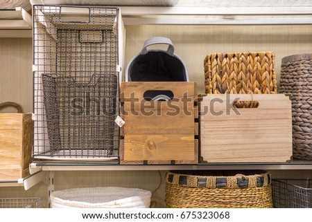 Assorted variety of home storage organizing baskets #675323068