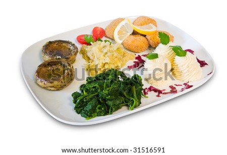Assorted vegetables: Potato croquettes, mashed potatoes, spinach, sauerkraut, artichoke hearts and cherry tomatoes