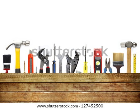 Assorted work tools and wood