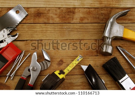 Assorted work tools on wood #110166713