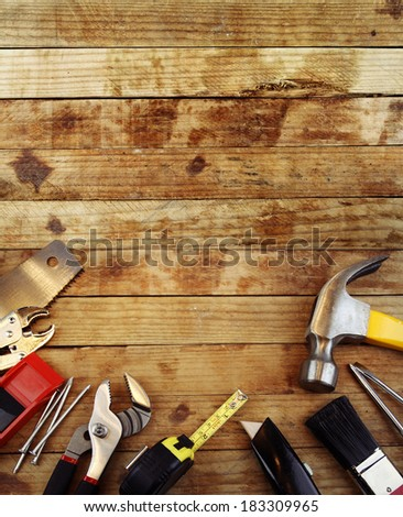 Assorted work tools on wood #183309965