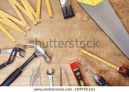 Assorted work tools on wood #184996262