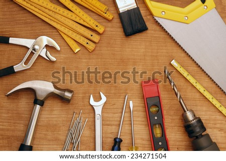 Assorted work tools on wood #234271504