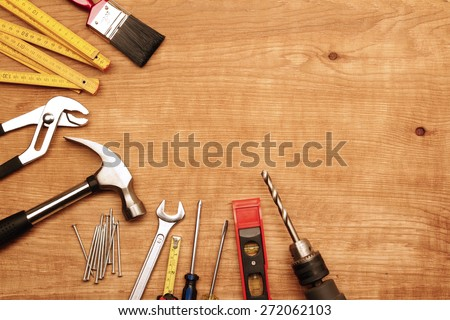 Assorted work tools on wood #272062103