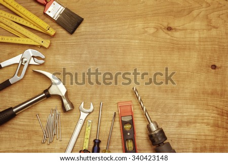 Assorted work tools on wood #340423148