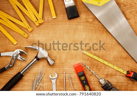 Assorted work tools on wood #791640820