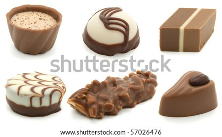 assortment chocolate pralines, isolated on white background