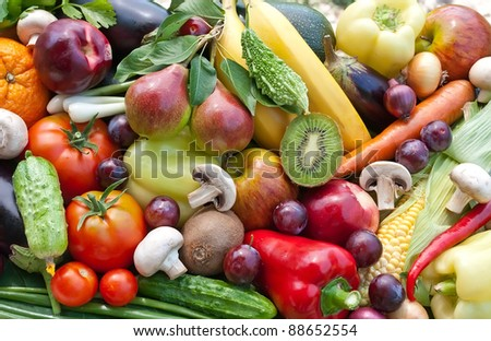 Assortment  from fruits and vegatables, close up
