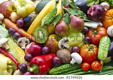 Assortment  from vegetables and fruits isolated on white
