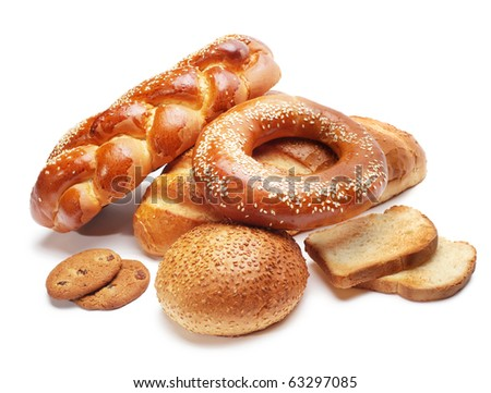 assortment of baked bread isolated on white