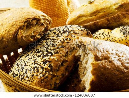 Assortment of baked goods in a basket