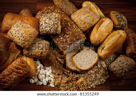 Assortment of baked goods in wood background