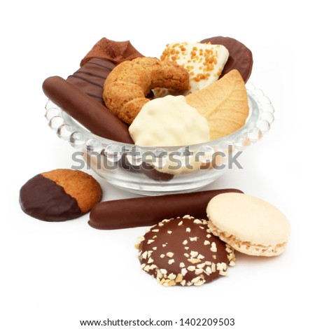 Assortment of biscuits isolated on white background