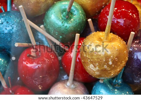 Assortment of candy apples behind a shop window, Munich, Germany