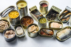 Assortment of canned preserves food in cans, conserve Saury, mackerel, sprats, sardines, pilchard, squid, tuna pinapple, corn, peas, mango , beans, over white textured background side view.