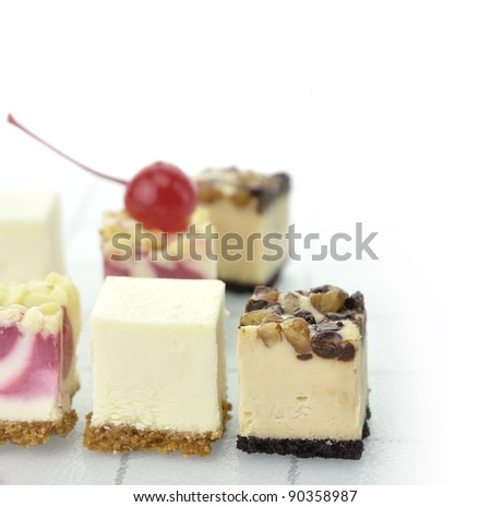 Assortment Of Cheesecake Slices , Close Up Shot