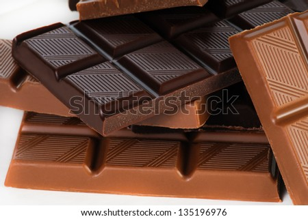 Assortment of chocolates on white