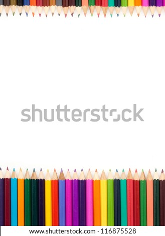 Assortment of color pencils with shadow on white background - stock photo