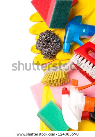 Assortment of colored means for cleaning and washing
