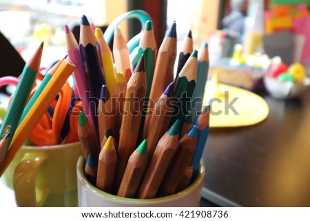 Assortment of colored pencils/Colored Drawing Pencils/Colored drawing pencils in a variety of colors  #421908736