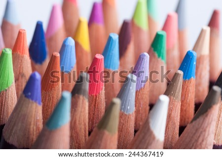 Assortment of colored pencils/Colored Drawing Pencils/Colored drawing pencils in a variety of colors #244367419