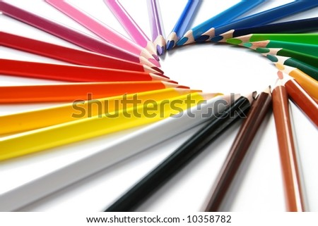 Assortment of colored pencils with shadow on white background -  colored crayons