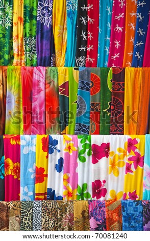 Assortment of colorful balinese sarongs for sale