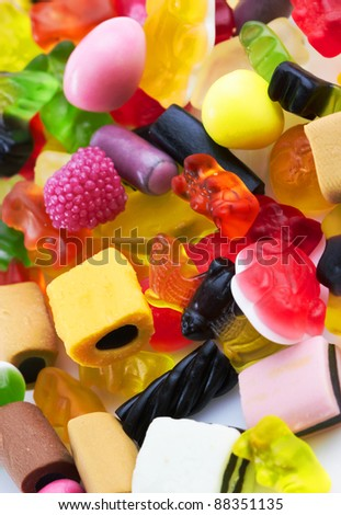 assortment of colorful candy background, close up