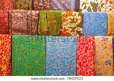 Assortment of colorful sarongs for sale