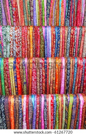 Assortment of colorful sarongs for sale on the Balinese market