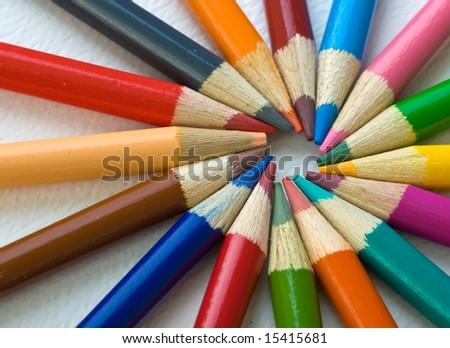 Assortment of coloured pencils - stock photo