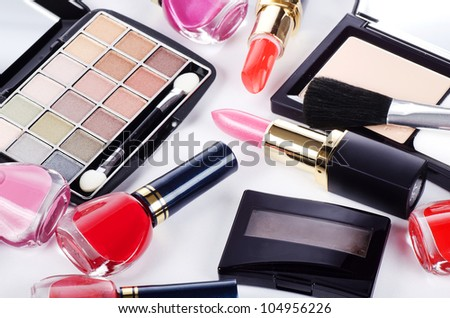 Assortment of cosmetic means for decorative make-up